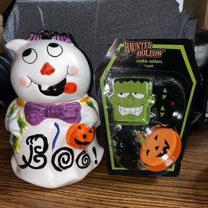 Halloween cookie jar and cookie cutters